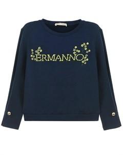 Синий свитшот с логотипом из страз детский Ermanno scervino