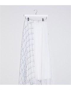Белая юбка миди с отделкой в клетку ASOS DESIGN Tall Asos tall