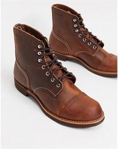 Медно коричневые кожаные ботинки Iron Ranger Red wing
