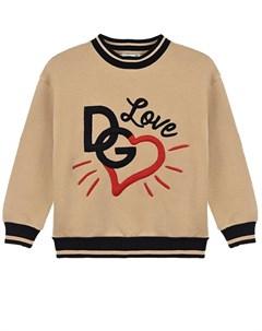 Бежевый свитшот с принтом сердце детский Dolce&gabbana