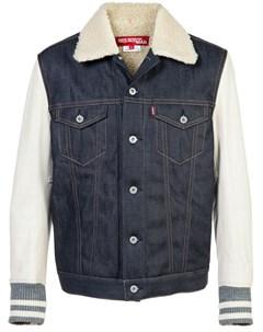 Джинсовая куртка с кожаными рукавами Junya watanabe comme des garçons man