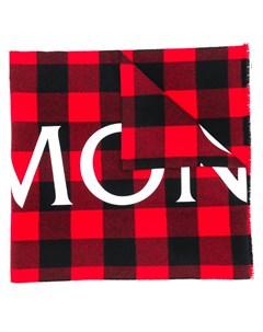 Клетчатый шарф с логотипом Moncler