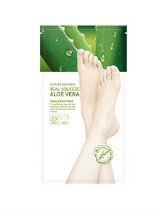 Пилинг маска для ног с экстрактом алоэ nature republic real squeeze aloe vera peeling foot mask Nature republic