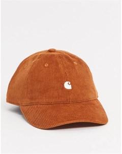 Вельветовая кепка темно оранжевого цвета Harlem Carhartt wip