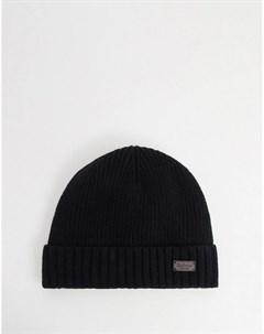 Черная шапка бини на флисовой подкладке Barbour