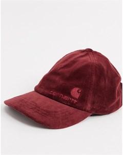 Бордовая велюровая кепка United Script Carhartt wip