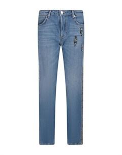 Голубые джинсы с твидовым лампасом Ermanno ermanno scervino