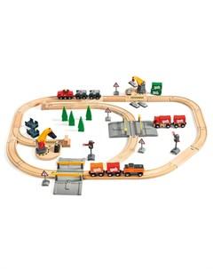 Железная дорога с подъемниками переездами грузами и поездом 75 деталей Brio