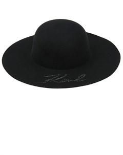 Черная шляпа со стразами детская Karl lagerfeld kids