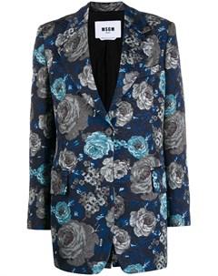Парчовый пиджак с цветочным узором Msgm