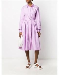 Платье рубашка в полоску с поясом Msgm