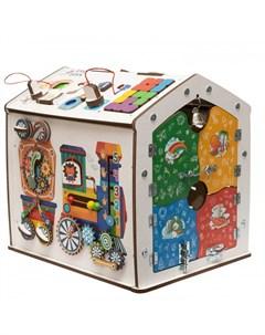 Деревянная игрушка Бизиборд домик Знайка Радуга Миди Evotoys