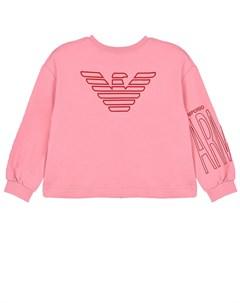 Розовый свитшот с объемными рукавами детский Emporio armani