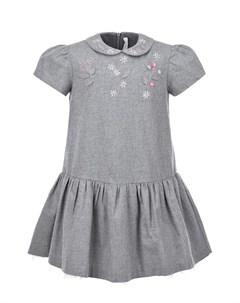 Серое платье с вышивкой детское Il gufo