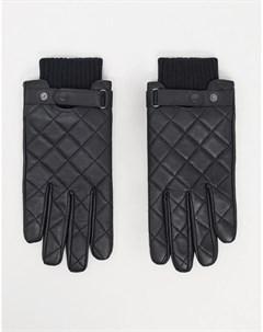Черные стеганые кожаные перчатки Barbour