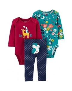 Комплект для девочки боди с цветами и с рисунком брюки в горошек Carter`s