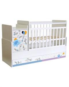 Кроватка детская 1100 Слоник на шаре белая Фея