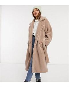 Пальто из искусственного меха в стиле oversized с поясом Native youth