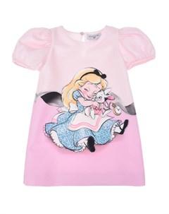Розовое платье с принтом Алиса в Стране чудес детское Monnalisa