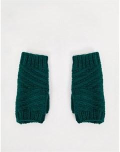 Зеленые фактурные вязаные митенки Boardmans
