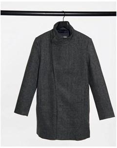 Темно серое пальто ассиметричного кроя Tom tailor