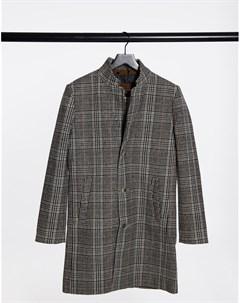 Шерстяное бежевое пальто в клетку Tom tailor