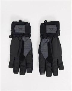 Черные горнолыжные перчатки с технологией Gore tex от Hill Core Quiksilver
