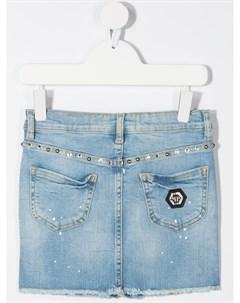 Джинсовая юбка мини с кристаллами Philipp plein junior