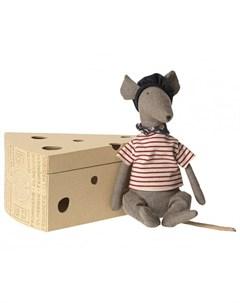 Мягкая игрушка Крыса в сырной коробке 25 см Maileg