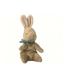 Мягкая игрушка Заяц малыш коричневый с голубой ленточкой 19 см Maileg