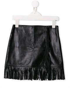 Короткая юбка с бахромой Msgm kids
