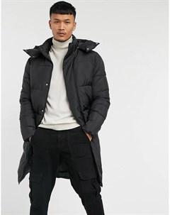 Черная дутая куртка удлиненного кроя Tom tailor
