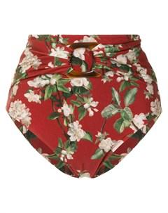 Плавки бикини с завышенной талией и цветочным принтом Patbo
