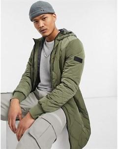 Удлиненная дутая куртка с капюшоном в цвете хаки Tom tailor
