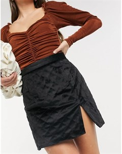 Бархатная стеганая мини юбка с разрезом спереди Neon Rose Neon rose