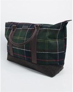Светло коричневая сумка с принтом тартан Barbour