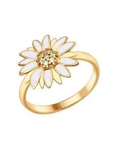 Кольцо из золочёного серебра с эмалью с жёлтыми фианитами Sokolov