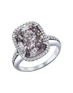 Кольцо из серебра с чёрным кристаллом Swarovski и фианитами Sokolov