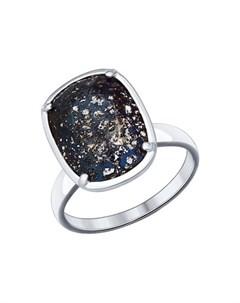 Кольцо из серебра с чёрным кристаллом Swarovski Sokolov