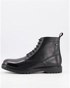 Черные кожаные ботинки на шнуровке Base london