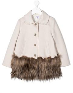 Пальто на пуговицах с искусственным мехом на подоле Piccola ludo
