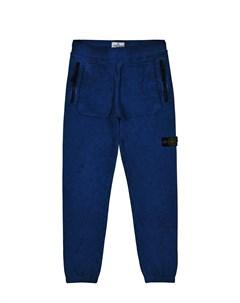 Синие спортивные брюки детские Stone island