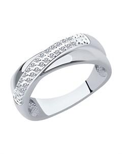 Кольцо из белого золота с родированием с бриллиантами Sokolov