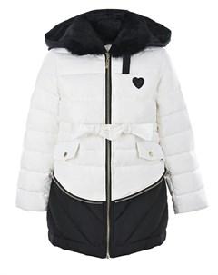 Двухцветное пальто с меховым воротником детское Twinset