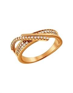 Кольцо из золочёного серебра с фианитами Sokolov