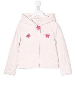 Куртка с капюшоном и цветочной аппликацией The marc jacobs kids