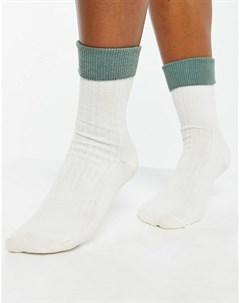 Кремовые носки с отворотом шалфейно зеленого цвета Asos design