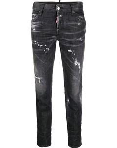 Укороченные джинсы с эффектом потертости Dsquared2