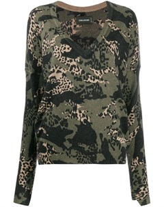 Пуловер с V образным вырезом и леопардовым принтом Zadig&voltaire