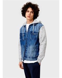 Джинсовая куртка с трикотажными рукавами Ostin